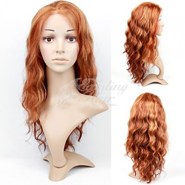 Long Lace Front Golden Blonde Wavy Remy Hair Wig